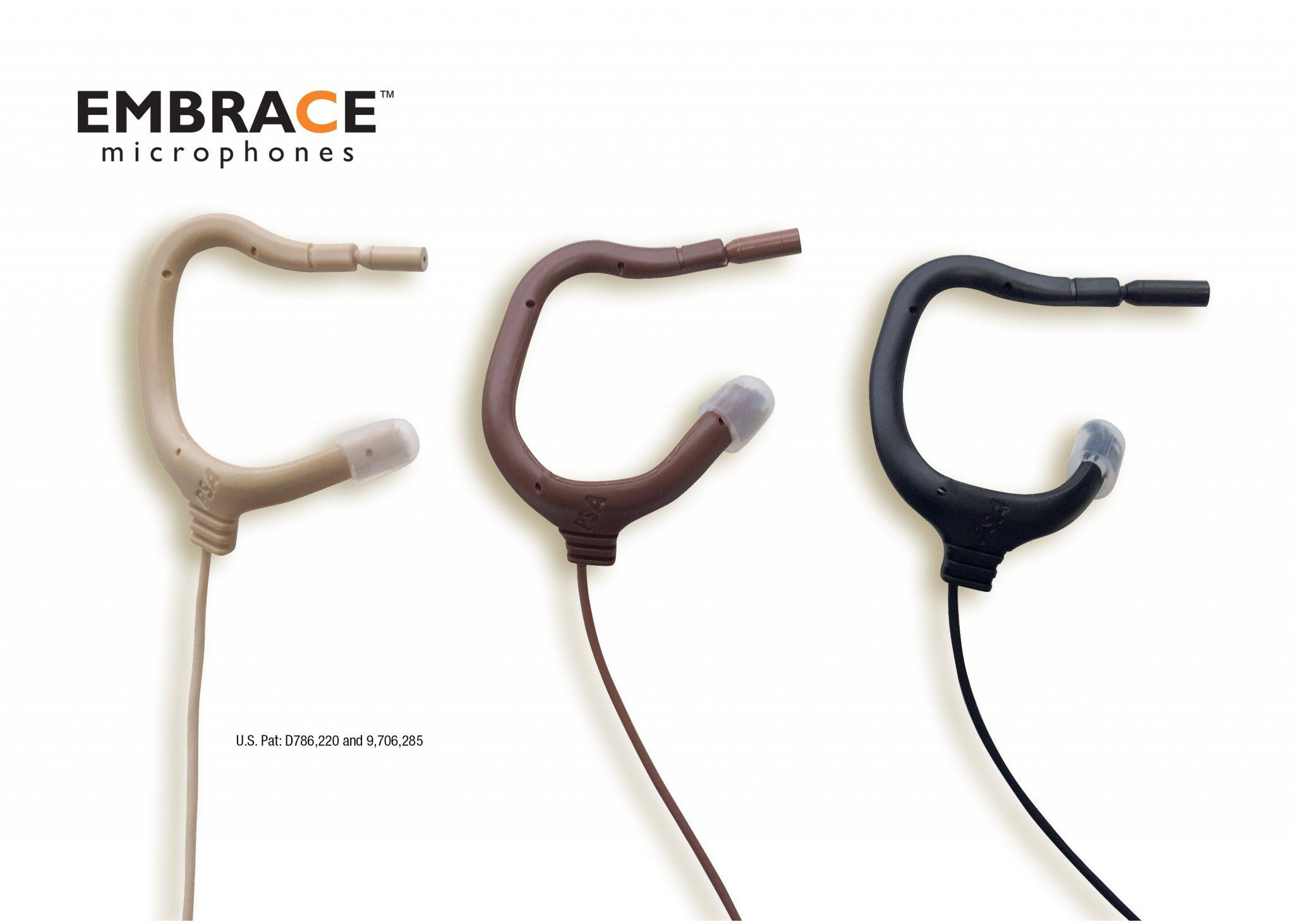 Patented EMBRACE Microphones shown in beige, brown and black to blend with hair and skin tone