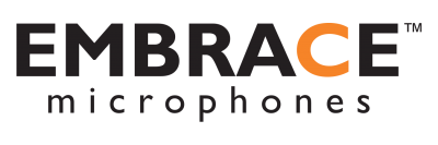 Embrace logo, earmount, microphone