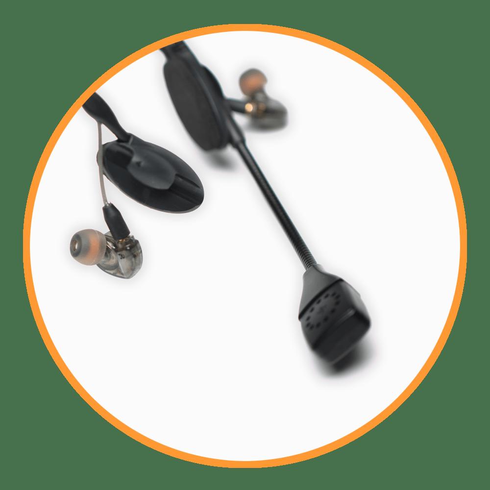 CM-i3 Intercom Headset, in orange circle