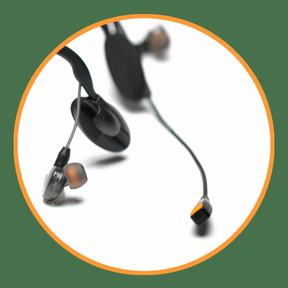 CM-i5 Intercom Headset in orange circle