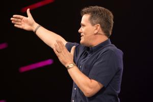 Pastor Jeff Jones wears CO-8WD headset microphone