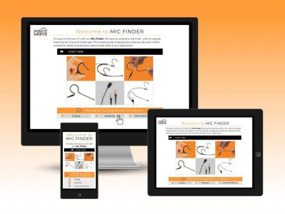 The Mic Finder web tool is accessible online via desktop, tablet, and mobile devices.