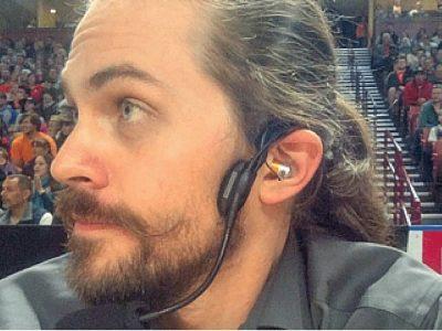 FOH tech wears CM-i3 intercom headset